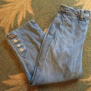 NYDJ Light Wash Denim Capri Button Detail